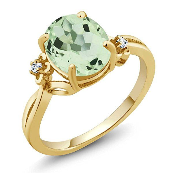 2.66 Ct Oval Green Amethyst Topaz 18K Yellow Gold Ring