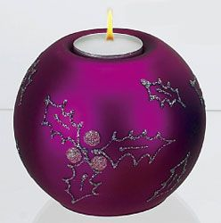 Fuchsia Holly Tea Light Handmade and Painted in Poland 5 inches holidaysandmemories.com - auctiva commerce