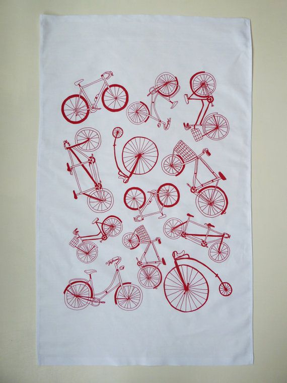 This Red Bicycle Typology Pattern Tea Towel is designed and printed by Rachel Ali Hawkins.  Featuring a wonderful variety of bicycles, including penny farthings, this print is the right combination of old meets new.