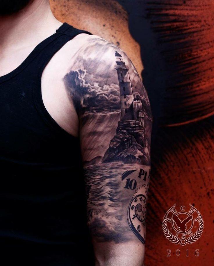 Archy owl tattooist #lighthouse #tattoo #realistic #black #grey #france