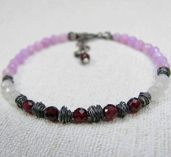 Minimalist Stone Bracelet Raw Silver Bracelet Garnet