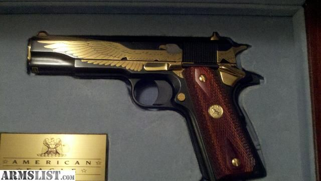 ARMSLIST - For Sale: Fully Functional 1911 Colt .45 Pistol W/gold and silver inlay