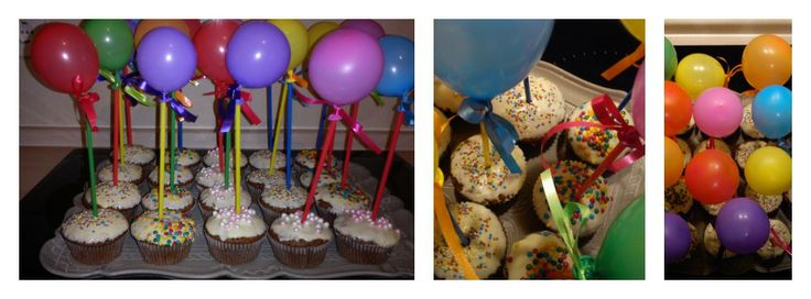 Ballon cup cakes! Birthday party treats!