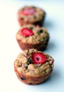 Strawberry + Banana Chocolate Chip Oatmeal Muffins made with greek yogurt & no white sugar @Monique Volz | Ambitious Kitchen