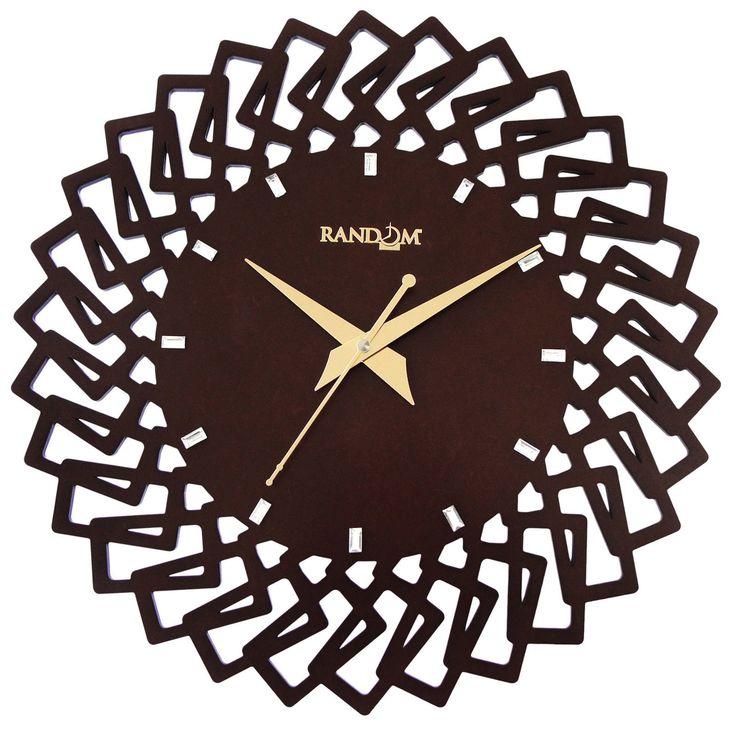 Wooden Designer Brown Wall Clock Quartz Movement Home Decorative Timepiece