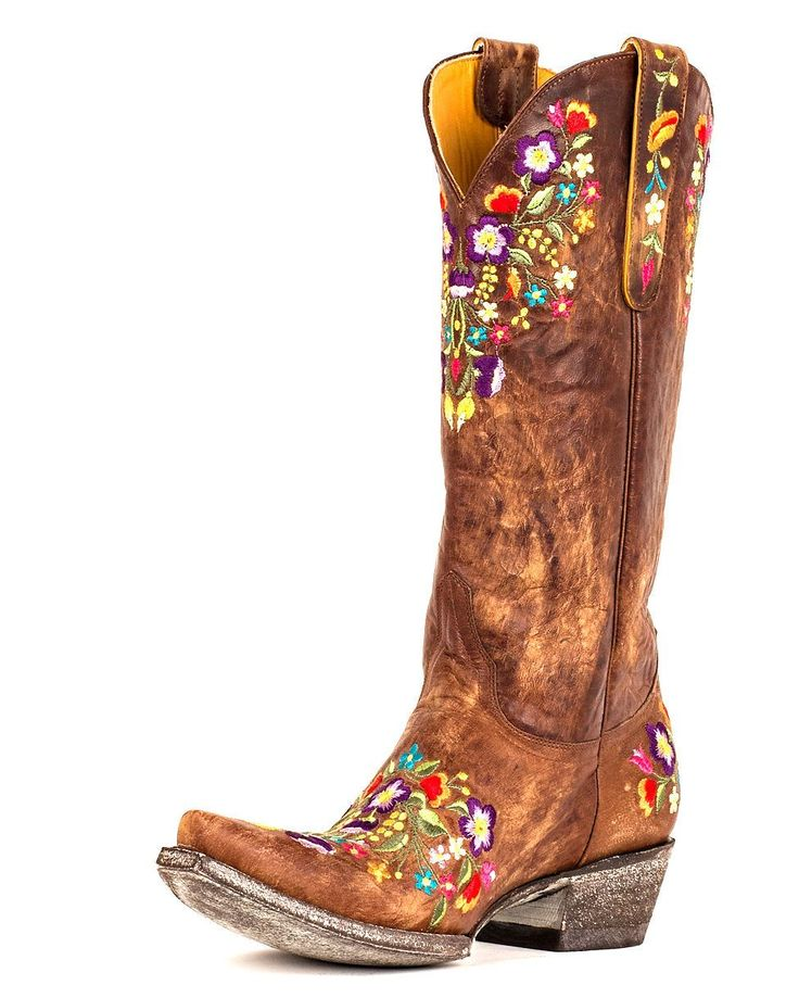Old Gringo Women's Sora Boot - Brass/Multi. Love the boho embroidery on the distressed leather.
