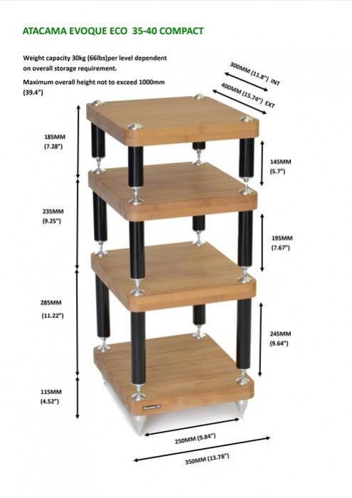 Customize options and colours for the Atacama Evoque Eco Compact Stand combination. Choose the single shelf base module; then one or multiple shelf modules at 145, 195 or 245mm high, with the option of custom made 300mm legs only available as an optional extra. The shelf modules come in 1 standard finish; natural bamboo then 2 premium finishes; medium and dark bamboo. And finally your stand is finished with gloss black legs.