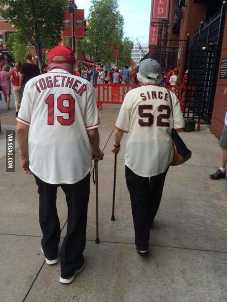 Grow old together. Yep, totally ordering these baseball shirts for our anniversary, and then we'll wear them for many, many years to come :)