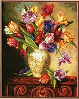 Высочайшее Качество Красивые Прекрасный Счетный Крест Kit Parrot Тюльпанов Тюльпан Цветы Цветок в Вазе dim 35305