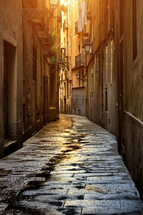 A Barcelona street early in the morning before the everyday rush, Spain