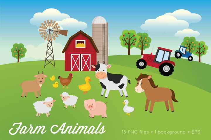 Farm Animals Clipart Vector Png 359309 Illustrations Design Bundles Animal Clipart Illustration Design Farm Animals