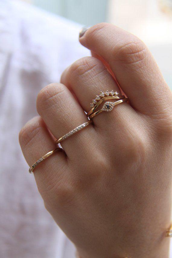 Cz Gold Ring Minimal Ring Minimalist Ring Stackable Ring Dainty Gold Cz Ring Tiny Gold Ring Stacking Ring Open Cz Ring