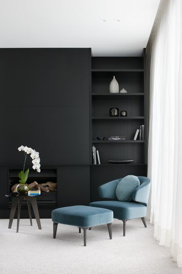 Gallery | Australian Interior Design Awards / minimalist. Black walls. Teal chair.