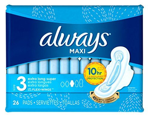 Always Pads Maxi Extra-Long Size 3 - 26 Count Super (2 Pack) #Always #Pads #Maxi #Extra #Long #Size #Count #Super #Pack)
