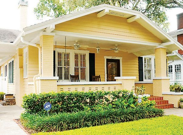 covered front porch | yellow house and covered front porch | Dream House