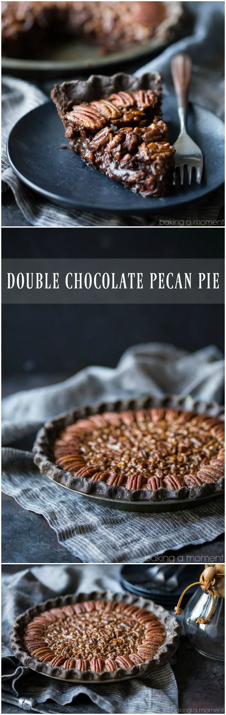 Double chocolate pecan pie: take your pecan pie to the next level, with a chocolate crust and sweet chocolate pecan filling. Made with no corn syrup.