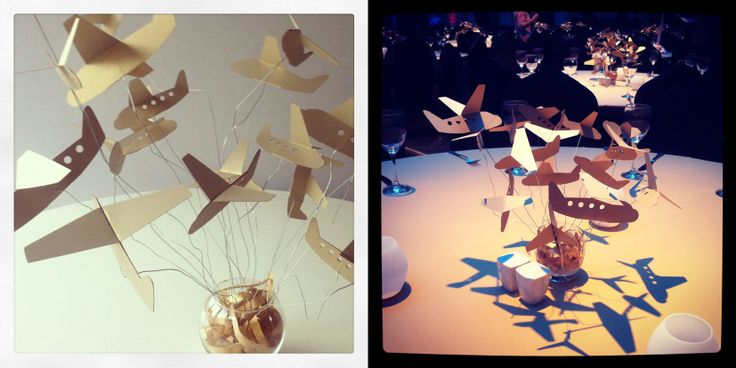 corporate event, paper airplane centerpiece www.karcsipapir.hu