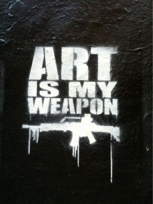 Art is my weapon urban spray paint stencil