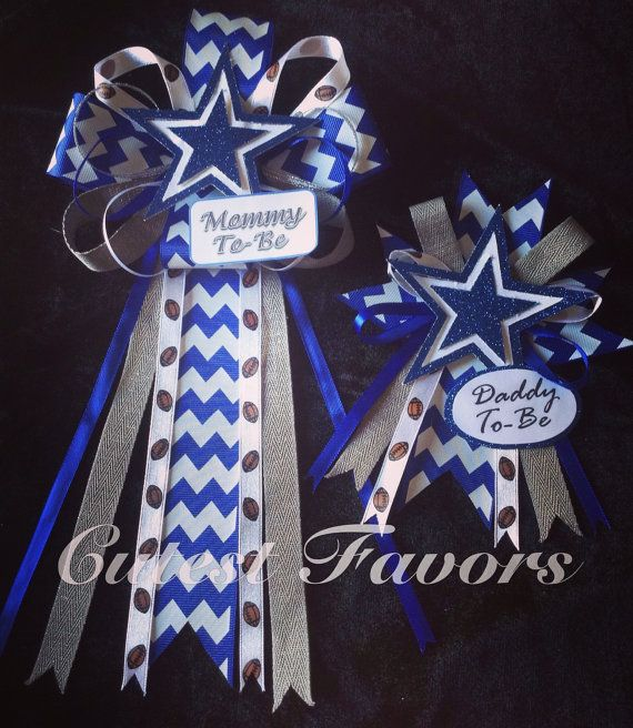 Dallas Cowboys inspired baby shower mum // corsage // Football baby shower