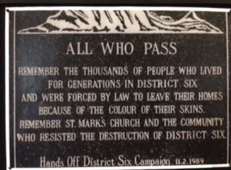 Memorial plate to the residents of District 6