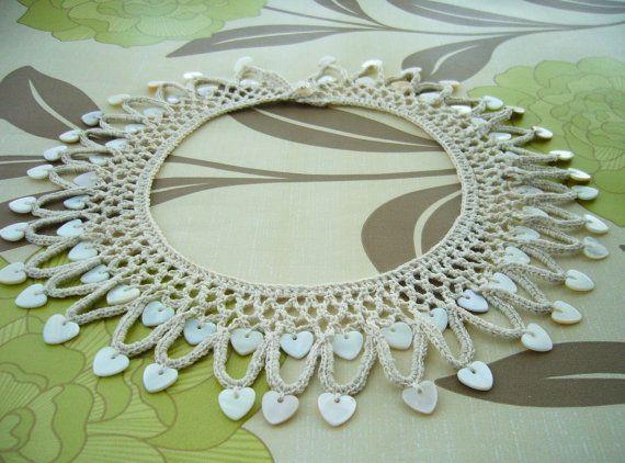 Hand Crochet Natural Linen Necklace Hearts by CraftsbySigita
