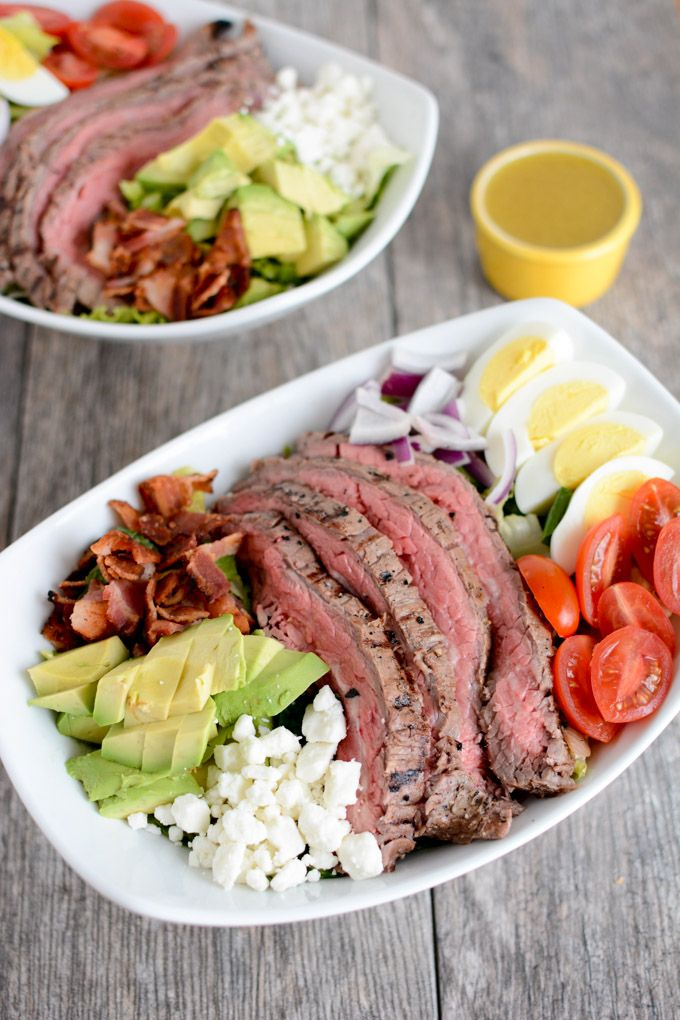This Steak Cobb Salad Recipe is packed with protein and nutrients, easy to assemble and makes a great lunch or dinner option as the weather gets warmer.