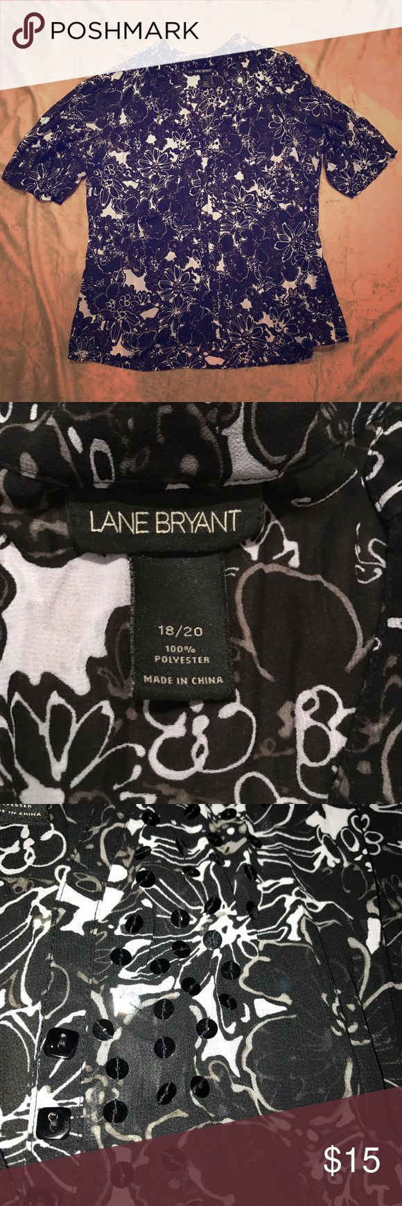 Lane Bryant Black White Top Blouse 18 / 20 This is another item that a friend gave me.  It's funny to me how I can't get the pictures quite right on this one! In the photos it looks like the shirt is solid, but it is actually pretty sheer. It would definitely require a tank top or camisole underneath.  I did my best to get a close-up picture of the sequins along the neckline.   Shirt is in great condition. No holes, stains, or defects. Please see pictures for further details and measurements…