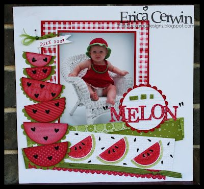 Melon #red #white #watermelon #scrapbook #layout #simple
