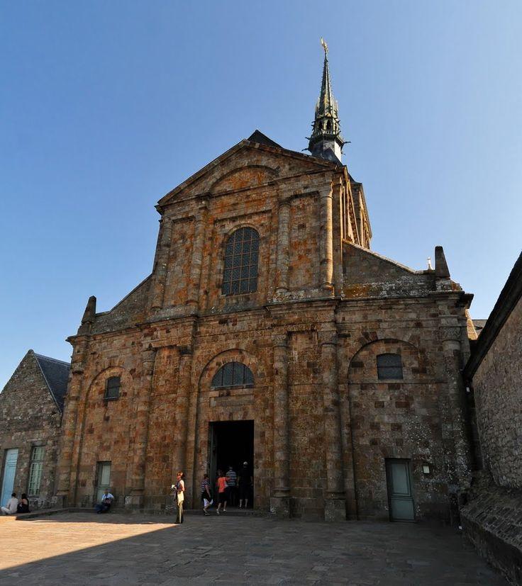 The Romanesque facade to the abbey.