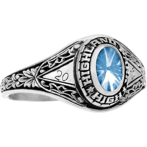 Ladies' Fantasia - White Gold, Aquamarine high school girl's class ring at http://www.wearmystory.com/, starting at only $209.95.