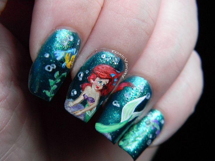 Toxic Vanity: Manicure Disney: 24 # The Little Mermaid (The Little Mermaid nail art)