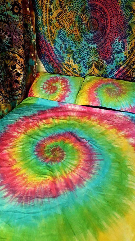 Tie Dye couette ensemble - coton égyptien de literie - literie de l'arc en ciel - Hippie - SIMPLE arc en ciel