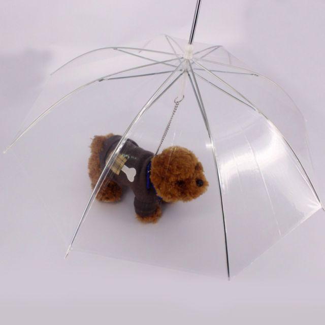Newest Clear Pet Umbrella PE Plastics Small Dog Umbrella Rain Gear Dog Leads | eBay