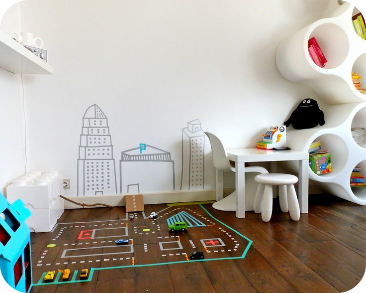 Le jardin de Juliette: Washi tape car track  Super cool! and I love the cubby holes on the wall