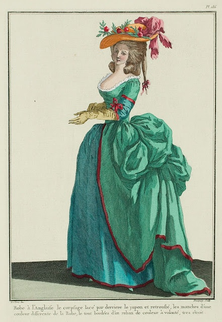 """""""Robe à l'Anglaise, the bodice laced in the back, the skirt is tucked up,* the sleeves of a color different from that of the Gown, the whole edged with a very narrow ribbon of any desired color."""" (1784)"""