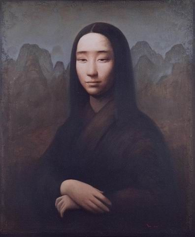"from a series of paintings entitled. ""After Master"" by Yin Xin. Yin takes classic master paintings and replaces their Western subjects w/ Chinese ones."