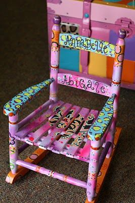 I would like to do this to my old rocking chair that now belongs to my girls!