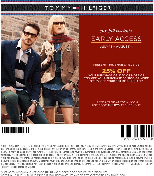 Pinned August 2nd: 15% off everything & more at Tommy Hilfiger, or online via promo code THILBTS coupon via The Coupons App