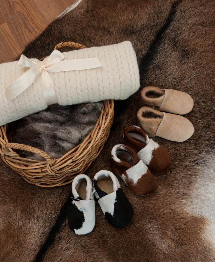 OMG imagine these baby booties on twins or triplets. How cute for baby boys or girls. And the possum merino wool baby blanket is the perfect gift from Grandma and Grandpa. All from Gorgeous Creatures.