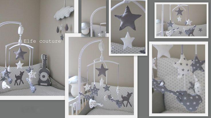 1 Mobile guitares & étoiles tons blanc / gris pour avoir la tête dans les étoiles ! : Chambre d'enfant, de bébé par elfe-couture