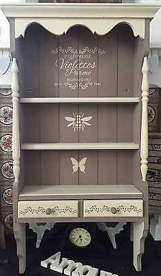 Hand-Painted & Stencilled Antique Wall Unit, Annie Sloan Coco & Old Ochre Chalk in Home, Furniture & DIY, Furniture, Bookcases, Shelving & Storage   eBay!