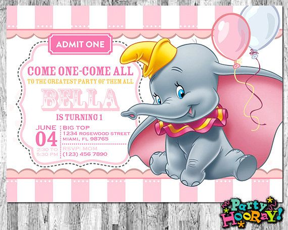 Dumbo Invitations For Girls, Dumbo Birthday Invitation, Dumbo Baby Shower  Invitation, Printable, Girl Dumbo, Pink, Circus, Thank You Card