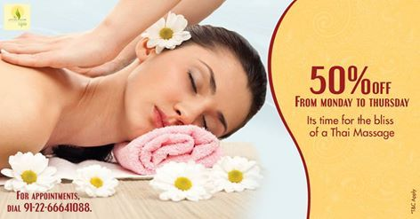 Developed by the Buddhist monks in the of kingdom of Thailand as a healing modality around 2500 years ago, Thai Massage is an awakening experience; combining Yoga postures and rhythmic compressions on targeted pressure points with stretching movements. It is a holistic way for relieving stress and tension. Here is a great Spa offer at Kemps Corner....avail 50% Discount on Thai Massage from Monday to Thursday at The Serene Room Spa.