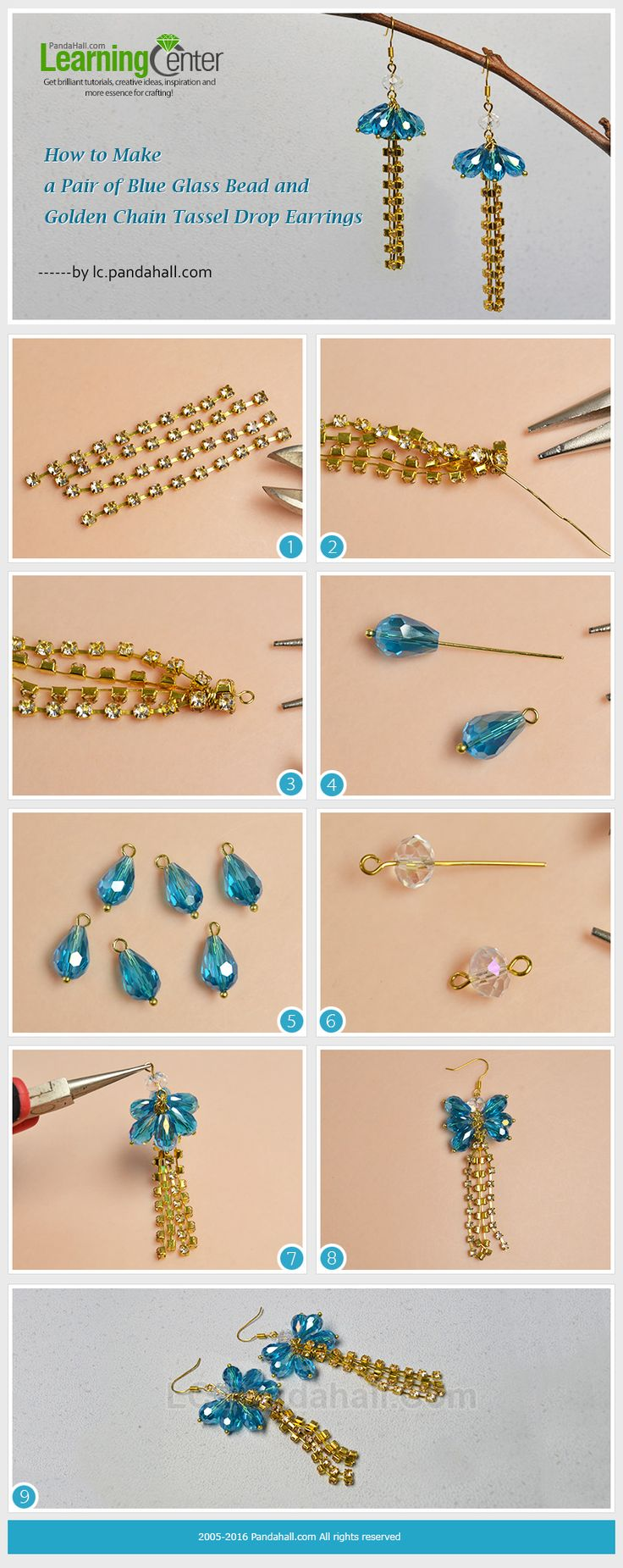 How to Make a Pair of Blue Glass Bead and Golden Chain Tassel Drop Earrings from LC.Pandahall.com