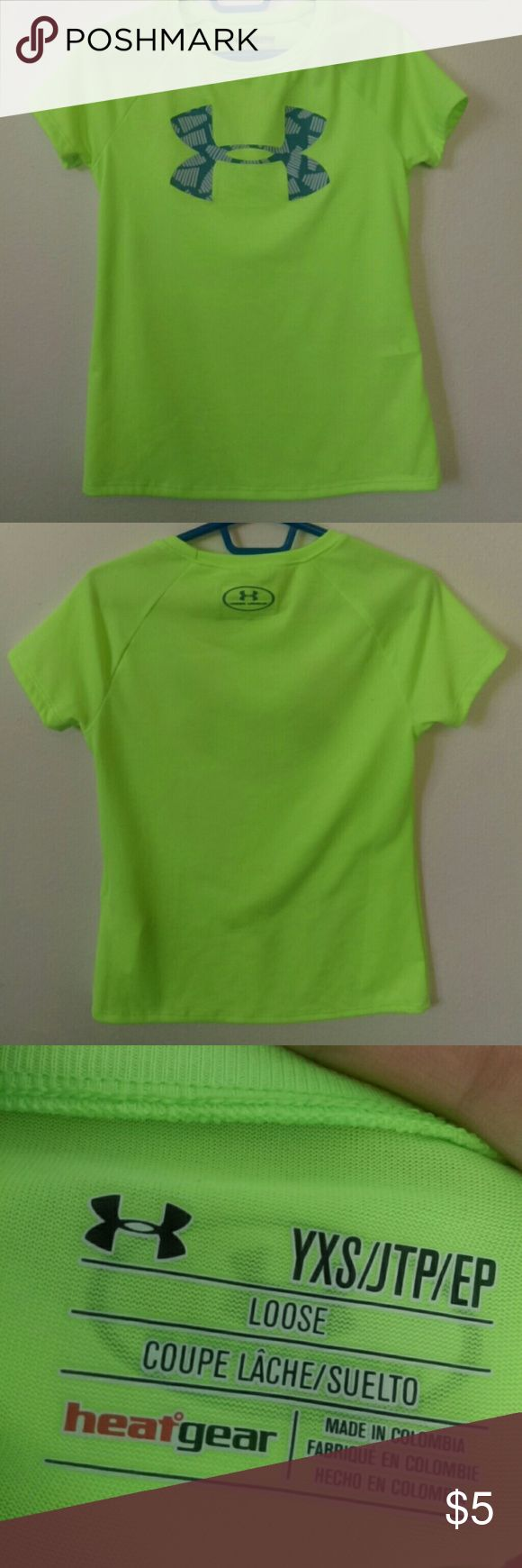 Youth XS Under armour t-shirt Vibrant green with the under armour logo on front. Light weight great for active kids. Under Armour Shirts & Tops Tees - Short Sleeve
