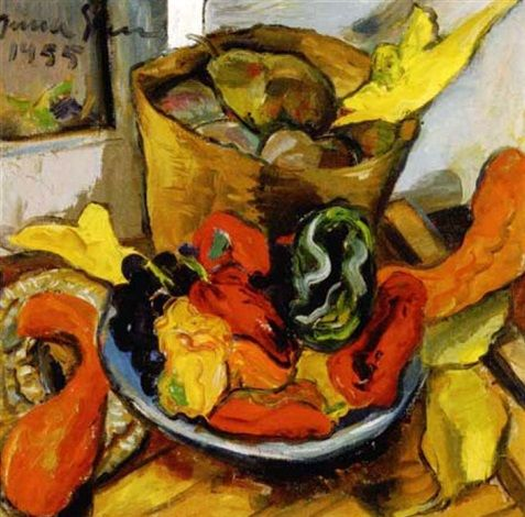 A still life with green peppers by Irma Stern