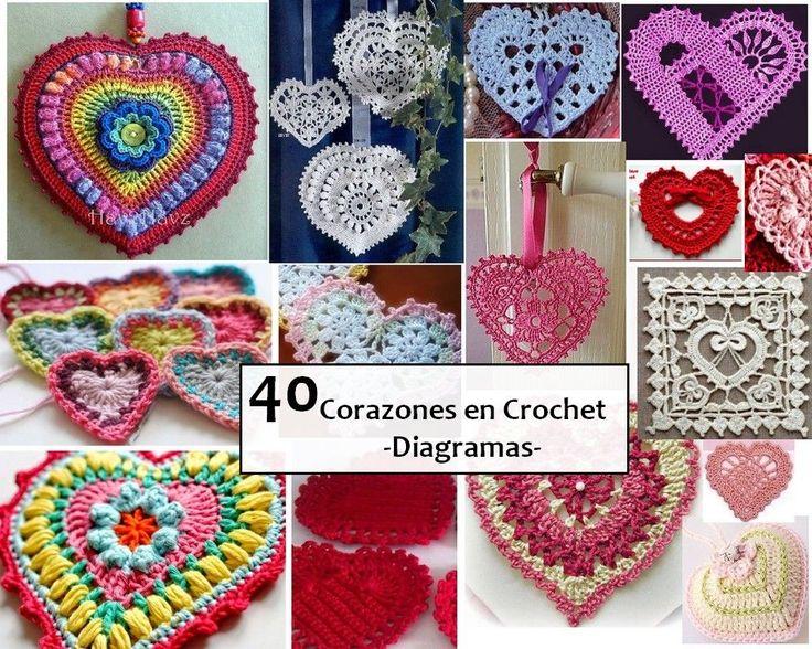 40 Corazones en Crochet - Diagramas