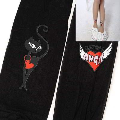 Volcom Black Cartoon Cat Pattern Yarn Fashion Stockings Black. Cute and elegance REPIN if you agree.😊 Only 136.5 IDR