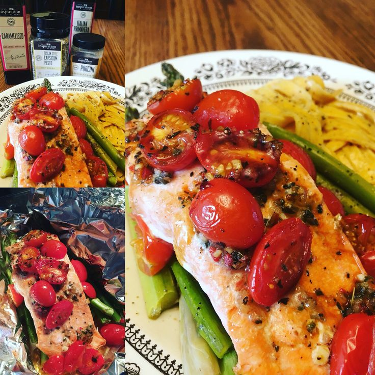 Salmon, asparagus, and grape tomatoes baked in a foil pack using yummy YIAH ingredients.  leahmckain.yourinspirationathome.com.au