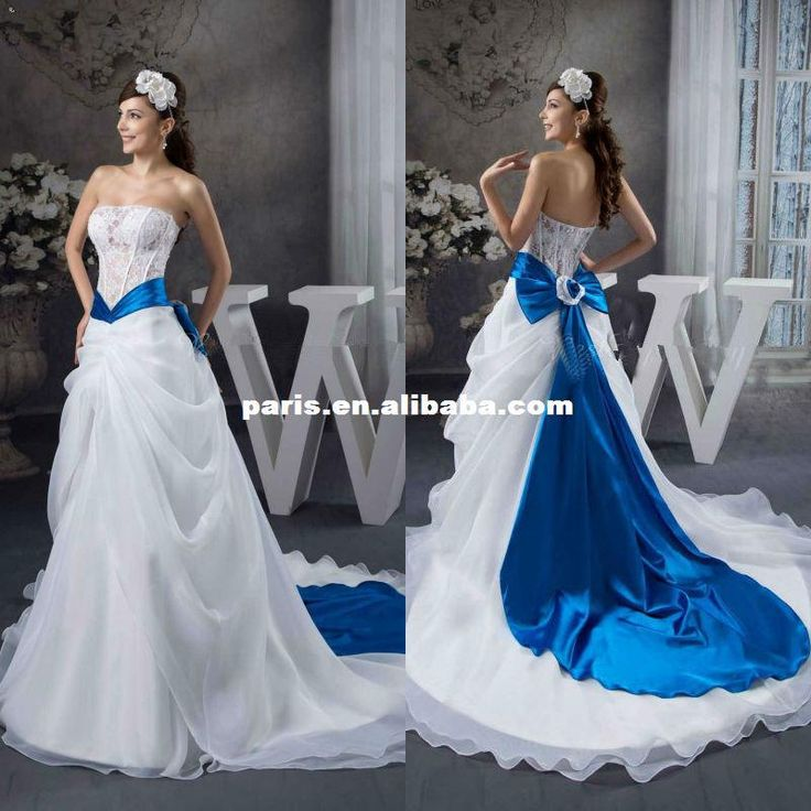 gorgeous elegant satin lace appliqued wirh bowknot sash royal blue and white wedding dresses us 20200